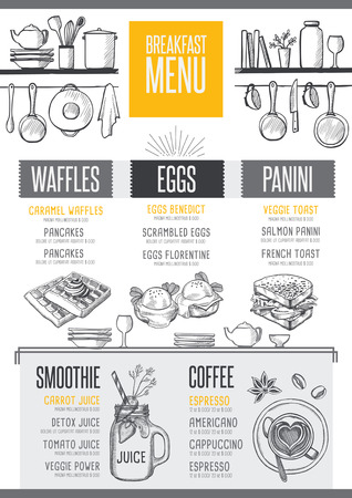 placemat: Breakfast menu placemat food restaurant brochure, template design. Vintage creative dinner flyer with hand-drawn graphic. Illustration