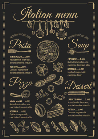 Italian menu placemat food restaurant brochure, template design. Vintage creative pizza flyer with hand-drawn graphic. Vector Illustration