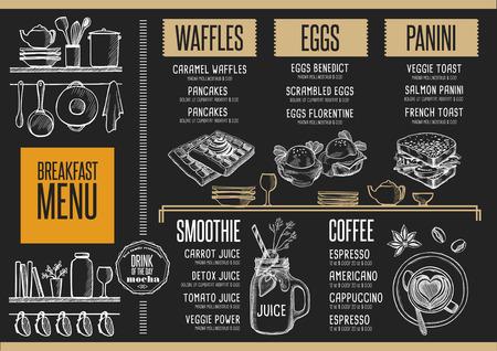 Ontbijtmenu placemat food restaurant brochure template design. Vintage creatieve diner flyer met de hand getekende afbeelding. Stock Illustratie