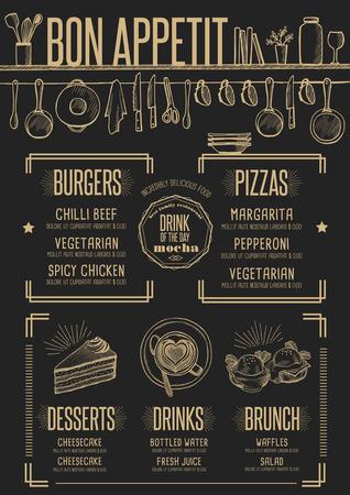 cafe food: Placemat menu restaurant food brochure, cafe template design. Creative vintage brunch flyer with hand-drawn graphic.