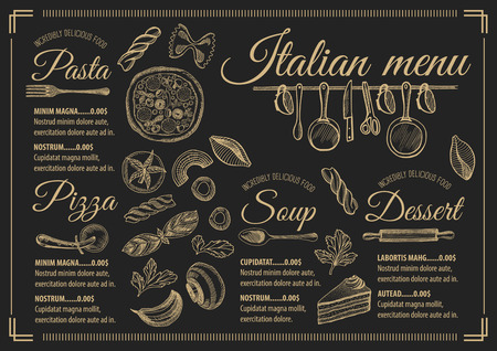 Italian menu placemat food restaurant brochure, template design. Vintage creative pizza flyer with hand-drawn graphic. Ilustração