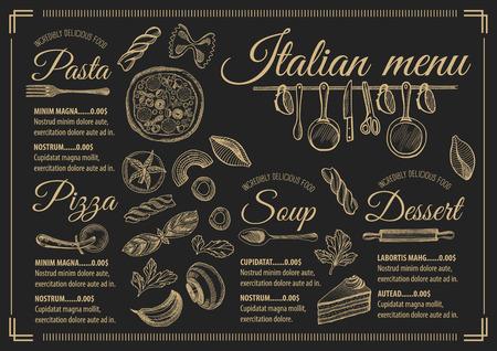 menù tovaglietta brochure ristorante cucina italiana, modello di progettazione. Vintage volantino pizze creativo con grafica disegnata a mano.