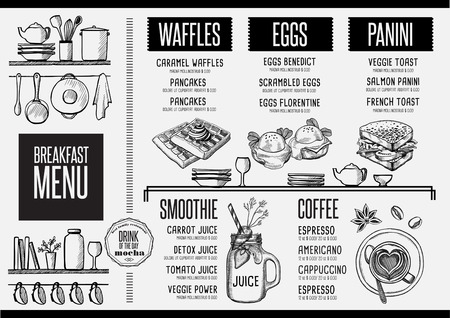 Breakfast menu placemat food restaurant brochure, template design. Vintage creative dinner flyer with hand-drawn graphic. Ilustração