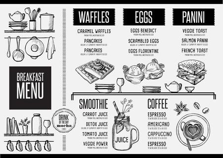 menú de desayuno folleto mantel de restaurante de comida, diseño de la plantilla. aviador de la vendimia de la cena creativa con el gráfico dibujado a mano. Ilustración de vector