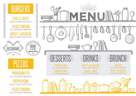 Menu Cafe żywności podkładka broszura, restauracja szablon. Kreacja rocznika brunch ulotki z rysowane ręcznie grafiki.