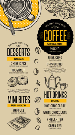 cafe food: Coffee menu placemat food restaurant brochure; cafe template design. Vintage creative beverage flyer with hand-drawn graphic.