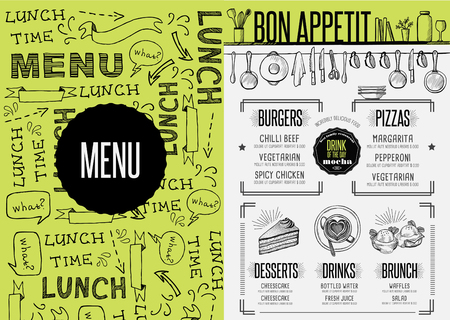 dessert buffet: Placemat menu restaurant food brochure, cafe template design. Creative vintage brunch flyer with hand-drawn graphic.