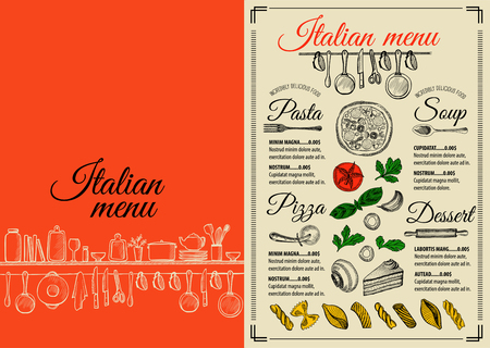 Italian Menu Placemat Food Restaurant Brochure Template Design