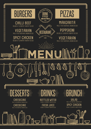 Cafe menu food placemat brochure, restaurant template design. Creative vintage brunch flyer with hand-drawn graphic. 版權商用圖片 - 65931280