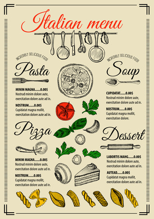 Italian menu placemat food restaurant brochure, template design. Vintage creative pizza flyer with hand-drawn graphic.