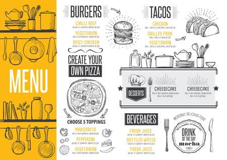Cafe menu food placemat brochure, restaurant template design. Creative vintage brunch flyer with hand-drawn graphic. Vector Illustration