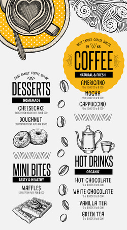 Coffee menu placemat food restaurant brochure; cafe template design. Vintage creatieve drank flyer met de hand getekende afbeelding.