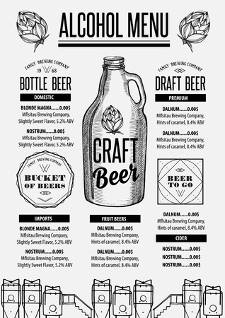 Beer menu placemat food restaurant brochure; template design. Vintage creative alcohol flyer with hand-drawn graphic.