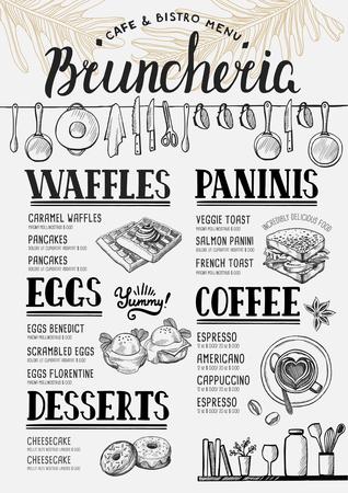 waffles: El menú de comida de restaurante y cafetería. plantilla de diseño con elementos gráficos dibujados a mano en el estilo de dibujo. Vectores