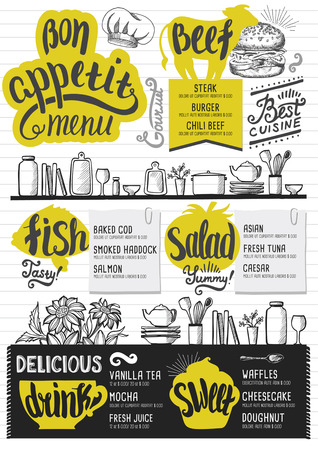menu design: Food menu for restaurant and cafe. Design template with hand-drawn graphic elements in doodle style.