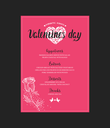 flower layout: Menu template for Valentine Day dinner. Flyer with hand-drawn graphic elements in doodle style.