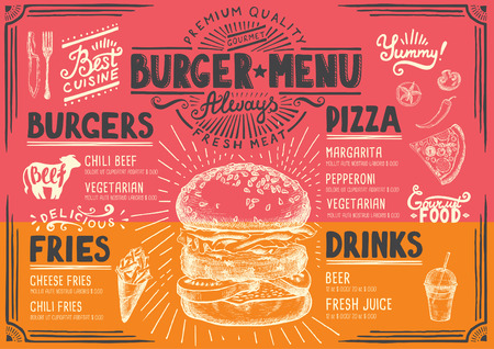 beverage menu: Food menu for restaurant and cafe. Design template with hand-drawn graphic elements in doodle style.