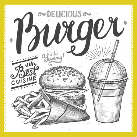 cafe food: Burger food element for restaurant and cafe design poster with hand-drawn graphic elements in doodle style.