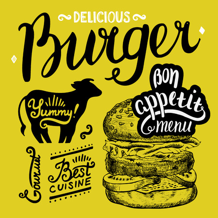 fastfood: Burger food element for restaurant and cafe. Design poster with hand-drawn graphic elements in doodle style.