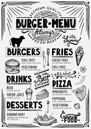 Il menu del cibo per ristorante e caffetteria. Modello di disegno con elementi grafici disegnati a mano in stile Doodle.
