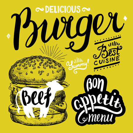 cafe food: Burger food element for restaurant and cafe. Design poster with hand-drawn graphic elements in doodle style.