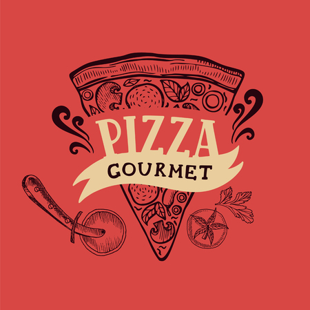 Pizza menu graphic element for restaurant and cafe. Design poster with hand-drawn elements in doodle style. Vetores