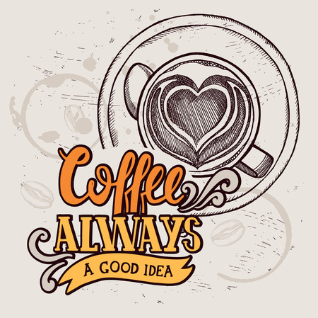 Coffee menu graphic element for restaurant and cafe. Design poster with hand-drawn elements in doodle style. Иллюстрация