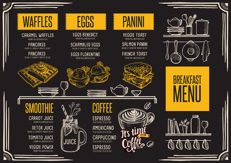 Breakfast menu placemat food restaurant brochure, template design. Vintage creative dinner flyer with hand-drawn graphic. Ilustracja