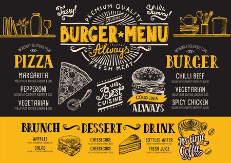 drink tools: Food menu for restaurant and cafe. Design template with hand-drawn graphic elements in doodle style.