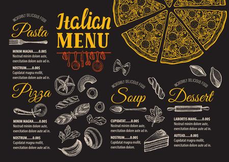 restaurante italiano: menú de comida pizza para restaurante y cafetería. plantilla de diseño con elementos gráficos dibujados a mano en el estilo de dibujo.