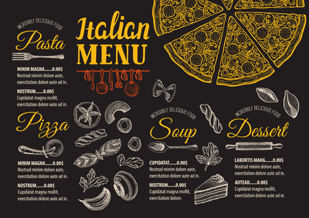 cooking utensil: Pizza food menu for restaurant and cafe. Design template with hand-drawn graphic elements in doodle style.