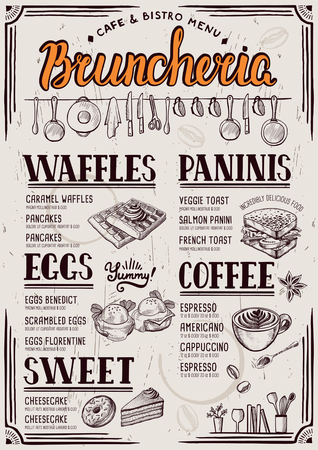 Food menu for restaurant and cafe. Design template with hand-drawn graphic elements in doodle style. Banco de Imagens - 73762277