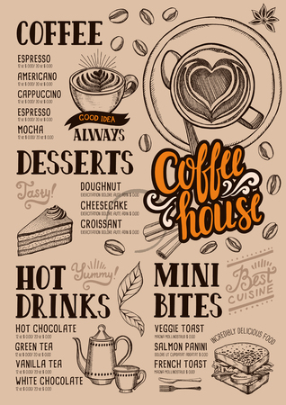 coffee and cake: Coffee food menu for restaurant and cafe. Design template with hand-drawn graphic elements in doodle style. Illustration