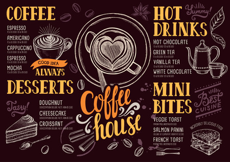Coffee food menu for restaurant and cafe. Design template with hand-drawn graphic elements in doodle style. Иллюстрация