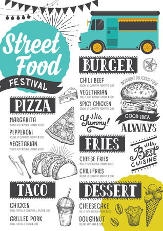 Street food festival menu. Design template with hand-drawn graphic elements in doodle style. Vectores