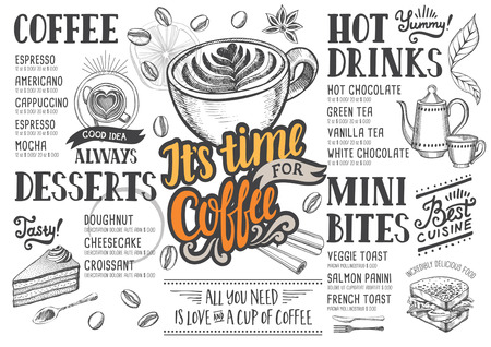 Coffee food menu for restaurant and cafe. Design template with hand-drawn graphic elements in doodle style. Illustration
