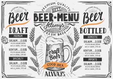 Menú de cerveza para el restaurante y cafetería. Plantilla de diseño con elementos gráficos a mano en estilo de doodle.