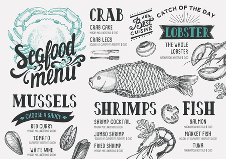 Seafood menu for restaurant and cafe. Design template with hand-drawn graphic elements in doodle style. Ilustrace