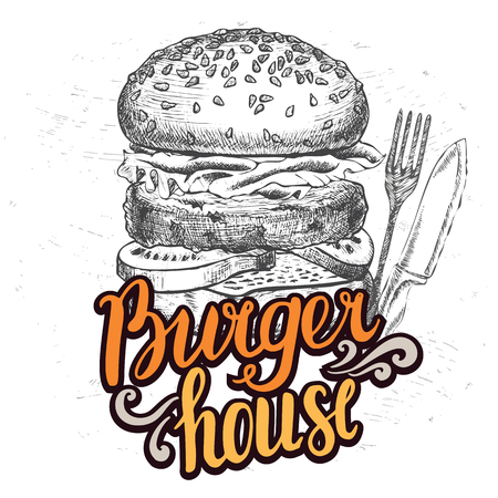 junkfood: Burger food element for restaurant and cafe. Design poster with hand-drawn graphic elements in doodle style.