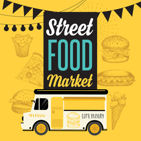 graphic elements: Street food festival poster. Design with hand-drawn graphic elements in doodle style.