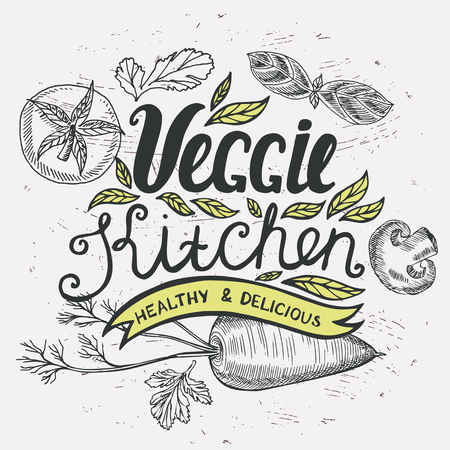 cafe food: Vegan food poster for restaurant and cafe. Design with hand-drawn graphic elements in doodle style.