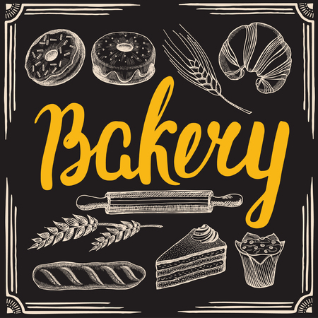 Bakery poster for restaurant and cafe. Design template with hand-drawn graphic elements in doodle style. Illustration