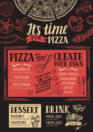 cafe food: Pizza food menu for restaurant and cafe. Design template with hand-drawn graphic elements in doodle style.