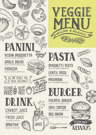 cafe food: Vegan food menu for restaurant and cafe. Design template with hand-drawn graphic elements in doodle style. Illustration
