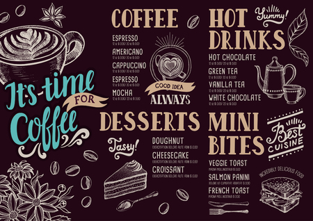 cafe food: Coffee food menu for restaurant and cafe. Design template with hand-drawn graphic elements in doodle style. Illustration