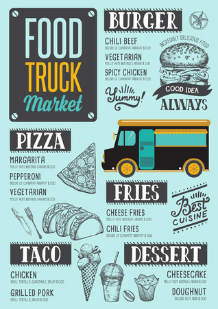 Street food festival menu. Design template with hand-drawn graphic elements in doodle style. Illustration