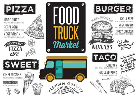 Street food festival menu. Ontwerp sjabloon met handgetekende grafische elementen in doodle stijl. Stock Illustratie