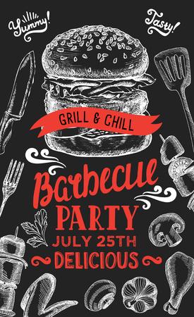 barbecue party invitation modèle de conception avec des éléments graphiques dessinés à la main dans le style doodle