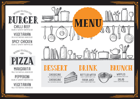 cafe food: Food menu for restaurant and cafe. Design template with hand-drawn graphic elements in doodle style.