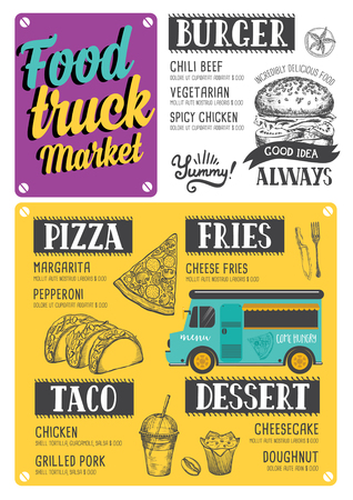 Street food festival menu. Design template with hand-drawn graphic elements in doodle style. Фото со стока - 81135837